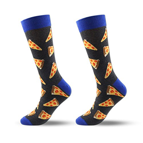 - Men's Cool Colorful Casual Socks - Novelty Funny Casual Combed Cotton Crew Dress Socks Gift Pack (1 pair-Black Pizza)