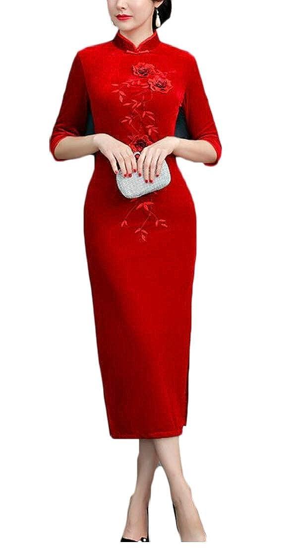 2 GenericWomen Velvet Elegant 3 4 Sleeve Cheongsam Qipao Slim Side Split Dress