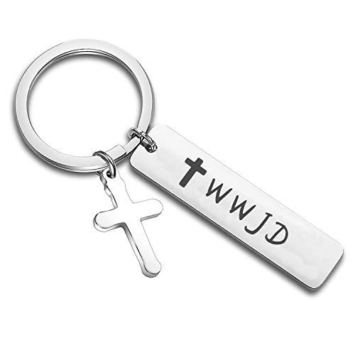 Wwjd Keychain - WUSUANED Religious Jewelry WWJD Cross Keychain First Communion Gift (WWJD Keychain)