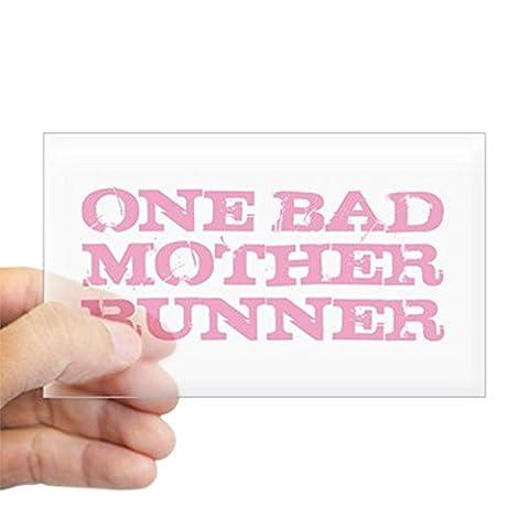 CafePress - One Bad Mother Runner Pink Sticker (Rectangle) - Rectangle Bumper Sticker Car Decal (Bad Runner)
