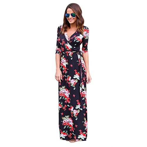 Costume Player 18 (Long Dress,Han Shi Women V Neck Floral Sundress Boho Long Maxi Evening Party Beach Long Sleeve Dress Gown Ladies Fashion Costume (S/M/L/XL) (M))