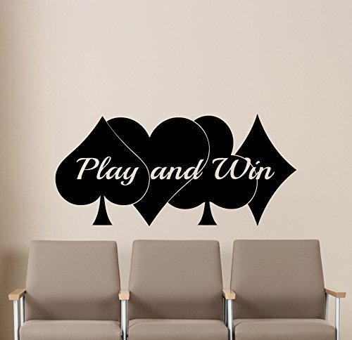 - Poker Wall Decal Play and Win Casino Play Room Vinyl Sticker Holdem Cards Game Gaming Nursery Wall Art Teen Kids Room Wall Decor Removable Waterproof Mural 58i