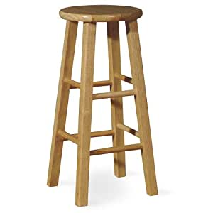 International Concepts 1S01-424 24-Inch Rountop Barstool, Natural