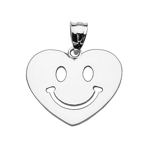 (Sterling Silver Happy Smiley Face Heart Charm Pendant)
