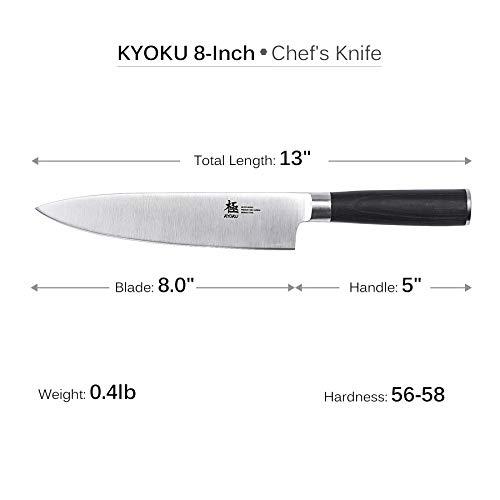 KYOKU Samurai Series - Chef Knife 8'' with Sheath Case - Japanese Steel - Ultra Sharp Blade Ergonomic Pakkawood Handle by KYOKU (Image #3)