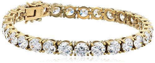 Yellow Gold Plated Sterling Silver Tennis Bracelet set with Round Cut Swarovski Zirconia, 7.25