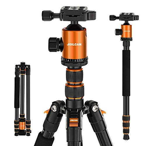"Joilcan 80-inch Tripod for Camera, Aluminum Tripod for DSLR,Monopod, Lightweight Tripod with 360 Degree Ball Head Stable for Travel and Work 18.5""-80"",19lb Load (Orange)"