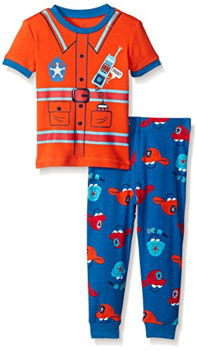 Petit Lem Baby Boys' 2 Piece Short Sleeve Top and Pant Pajama Set-Shark Fire Truck, Orange, 12 Months ()