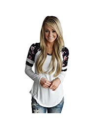 Leegor Women Floral Splice Printing Round Neck Pullover Blouse Tops T Shirt