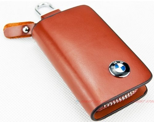 Bag Keychain Case (Brown Genuine Leather Key Holder Keychain Ring Case Bag for All BMW)