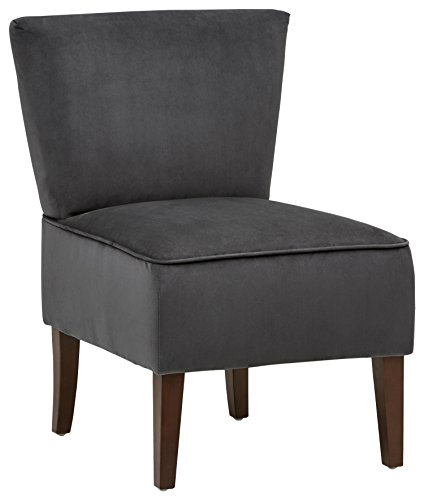 Cheap Rivet Ashworth Armless Velvet Accent Chair, Steel Grey