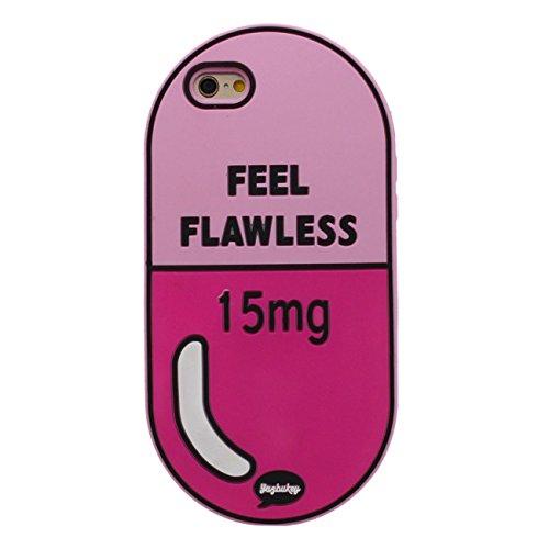iPhone 6S Plus morbido Custodia protettiva, Creativo Medicina Pillola Forma gel di silicone Coperturta Protettiva Case per Apple iPhone 6 Plus / 6S Plus 5.5 inch Rosa