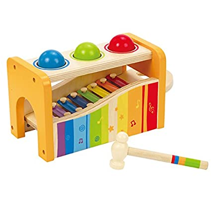 Amazon.com: Hape Pound & Tap Bench With Slide Out Xylophone: Toys ...