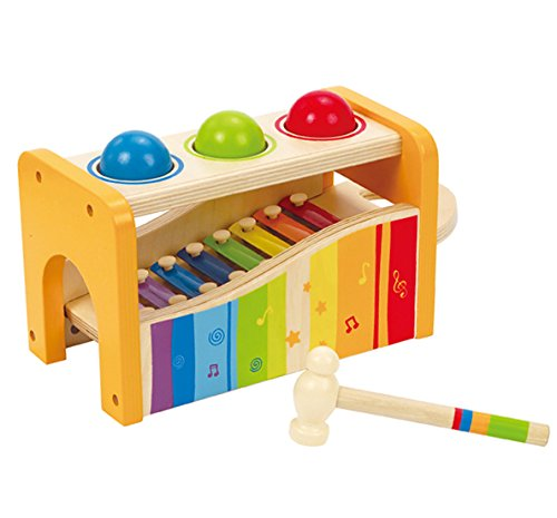 Hape Pound & Tap Bench with Slide Out Xylophone - Award Winning Durable Wooden Musical Pounding Toy for Toddlers, Multifunctional and Bright Colours (Toy Wooden Musical Xylophone)
