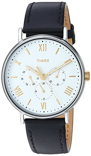 Timex Men's TW2R80500 Southview 41 Multifunction Black/White Leather Strap Watch (Leather White Strap Black)