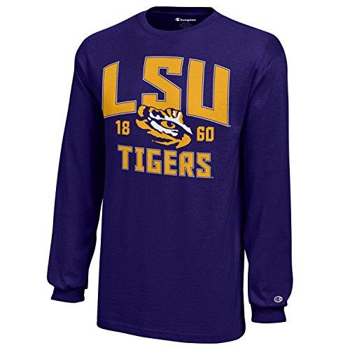 - Champion NCAA LSU Tigers Youth Boys Long Sleeve Jersey T-Shirt, Large, Purple