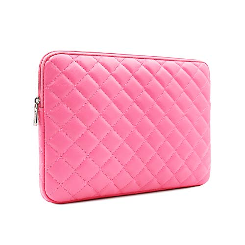 RAINYEAR 15 inch Laptop Sleeve Diamond PU Leather Case Protective Shockproof Water Resistant Zipper Cover Carrying Bag Compatible with 15.4 MacBook Pro/Retina/Touch Bar(Rose Red) ()