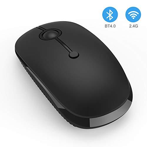 Wireless Bluetooth Mouse, Jelly Comb Slim Dual Mode 2.4GHz Wireless and Bluetooth Mouse with 2400 DPI for PC, Laptop, Mac, Windows (Black)