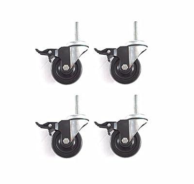 "(4) Caster 35"" Soft Wheel Tech-Lock Brake Wheel Only 1/2"" Thread Stem 780# Cap 3"