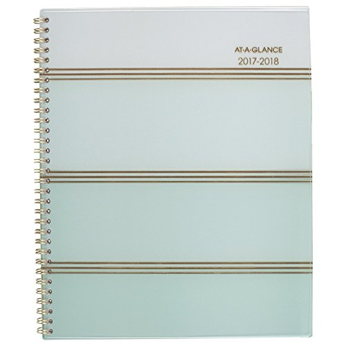 "AT-A-GLANCE Academic Weekly / Monthly Planner, July 2017 - June 2018, 8-1/2"" x 11"", Ombre, Mint (1026-905A)"