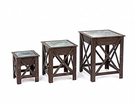 Tavolo per piante sgabello legno metallo marrone cm cm x