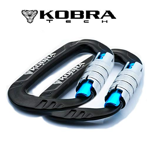 Kobra Tech Aluminum D Shape 12 KN Small, Strong and Light Carabiner Clip with Twist Auto Lock Gate for Hiking and Outdoor use Comes with Bonus !!! Drawstring Bag and Carabiner Bottle Opener