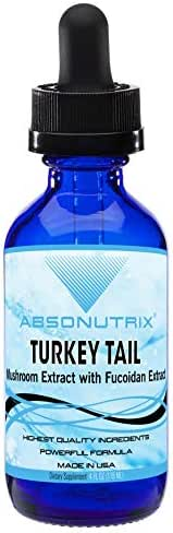 Absonutrix Turkey Tail Mushroom Extract with Fucoidan Extract 590 mg antioxidant Helps Boost Immunity All Natural Ingredients Made in USA