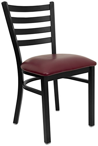 HERCULES Series Black Ladder Back Metal Restaurant Chair – Burgundy Vinyl Seat