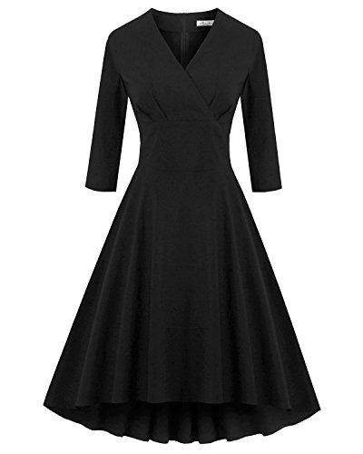 Women Three Quarter Sleeve Bodycon Dress Plus Size Black - 1