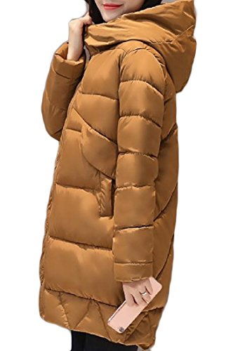 Pocket Chic Coffee Down Women Color Sections Keeping AGAING Coats Warm Pure Long fxwSCaqn