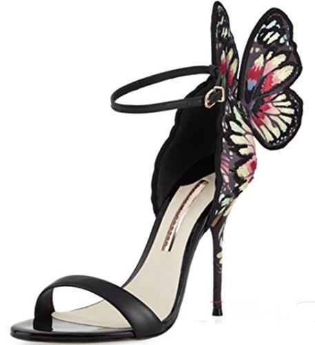 HYLM Vestido de boda de los talones de mariposa de alas finas sandalias de la señora de calidad de alto grado zapatos zapatos de fiesta Black