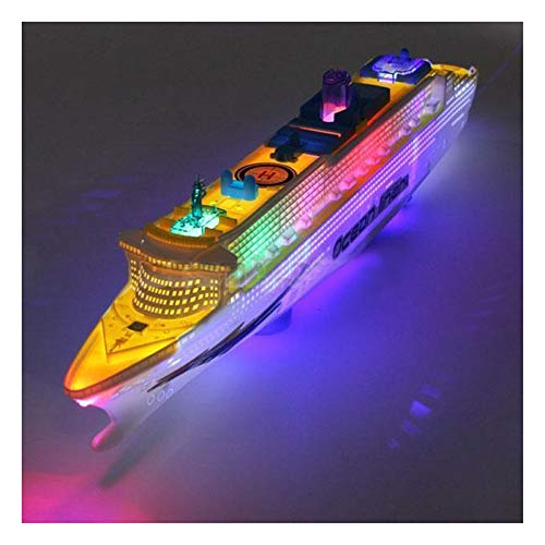 Diecasts & Toy Vehicles - Ocean Liner Cruise Ship Boat Electric Toy Flashing LED Lights Sounds Kids Child Blue+Yellow - by LINAE - 1 PCs from LINAE