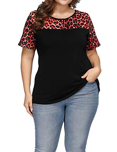 Allegrace Women's Plus Size Casual Leopard Print Patchwork Top Loose Short Sleeve T Shirts Red Leopard 4X