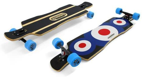 Hammond 9 Plys Canadian Maple Wood Longboard Skateboard Free Ride Star with Surf Highway Blue Wheels