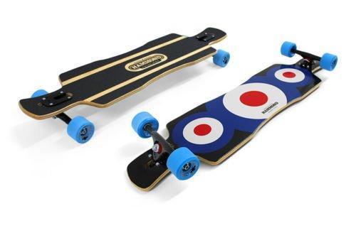 Hammond 9 Plys Canadian Maple Wood Longboard Skateboard Free Ride Star with Surf Highway Blue ()