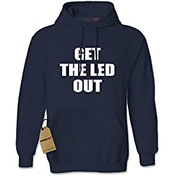 Hoodie Get The Led Out Adult Large Navy Blue