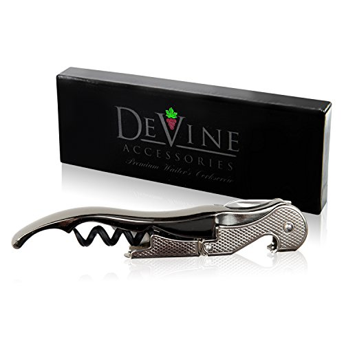 Premium Waiter's Corkscrew – Professional Grade Handheld Wine and Bottle Opener with Metalic Handle, Double Hinged Lever and Foil Cutter - by DeVine Accessories by DeVine Accessories (Image #2)