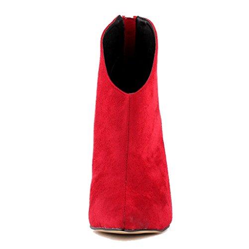 Classic Zesvi EKS Peep Red Women's Dress Heels Thin Pointed Toe Wedding Boots suede Short High nfrvwHxnTq