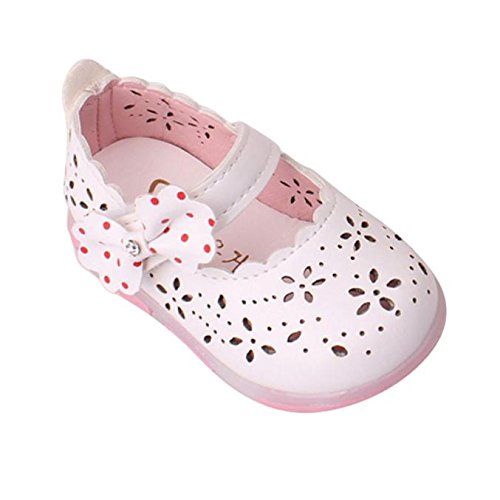 Tefamore Sandalias Encendidas Soft-Soled Princesa Zapatos Niñas Niño Bowknot Hueco(LUZ) Blanco