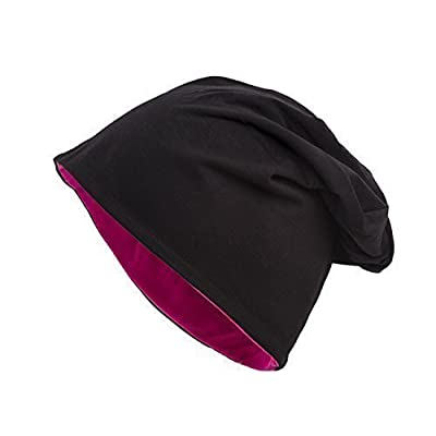 650d3dd97b2ee Shenky - Bonnet d'été/de printemps tombant - jersey - fin et long - homme,  femme, enfant - bicolore (noir/rouge) - noir - universel
