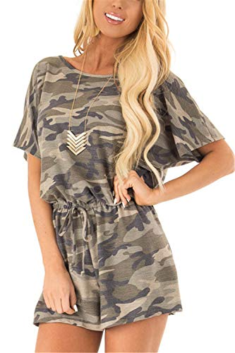 Ladies Camouflage - ReachMe Womens Short Sleeve Camo Romper with Pockets 4th of July Outfits Camouflage Jumpsuit Shorts(Lighter Camo,S)