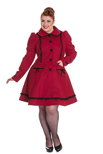 Bustle Corset - Hell Bunny Plus Victorian Steampunk Gothic Princess Bustle Corset Coat (4XL, Burgundy)