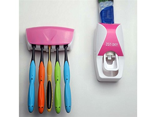 Hezon Automatic Touch Toothpaste Dispenser Toothbrush Holder Set(Pink) EASY TO USE by Hezon