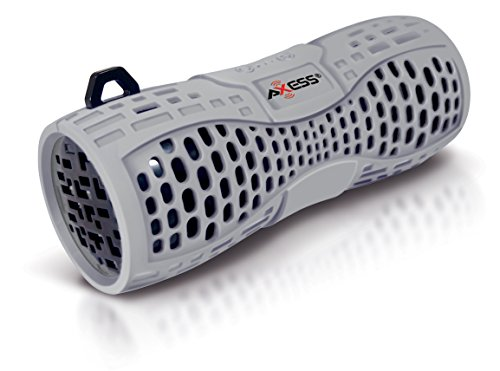 AXESS SPBW1035 Portable Water Resistant Bluetooth Loud Speaker System with Speakerphone to Answer your Calls In Gray