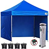 Eurmax 10x10 Ez Pop Up Canopy Outdoor Canopy Instant Canopies with 4 Zipper Sidewalls and Roller Bag,Bouns 4 Weight Bags (Blue)