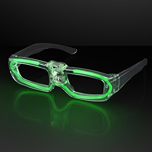 FlashingBlinkyLights Green Sound Activated LED Light Up Party Glasses]()