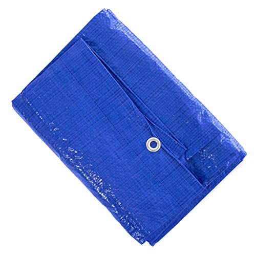 8' x 10' Blue Multi-Purpose Waterproof Poly Tarp Cover with Tent Shelter Camping Tarpaulin by West Coast Paracord