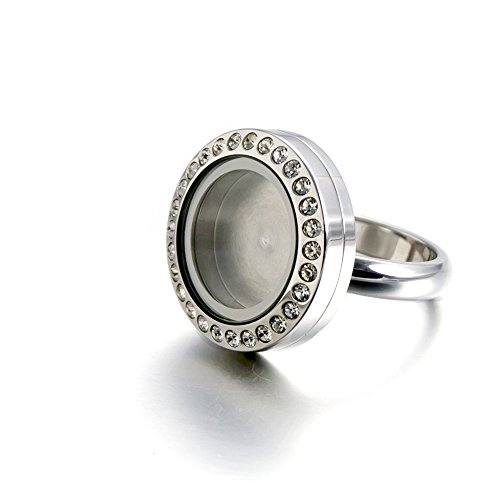 EVERLEAD Latest Open Floating Charm Locket Ring with Crystal