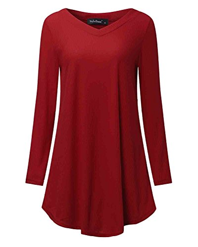 StyleDome Women's Knit Sweater Casual Swing V Neck A-Line Long Sleeve Dress (XL, Red)