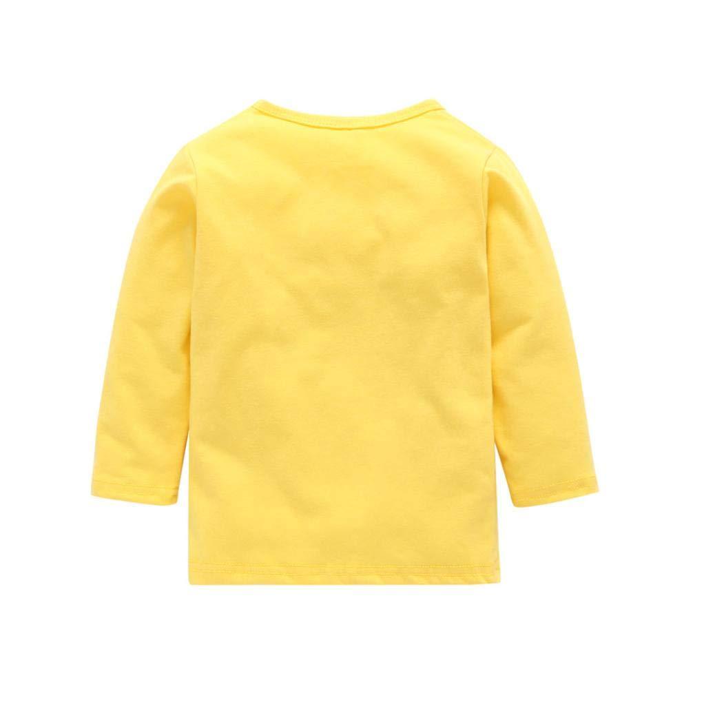 3-4 Years Old, Yellow Sixcup Unisex Baby Boy Girl Cotton Long Sleeve Dinosaur Printed Pyjama Sets Tops+Pants 2-Piece Outfits Set Nightwear Sleepwear PJS Romper Jumpsuit